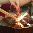 ������, ������: Hand cense joss stick to at an incense burne