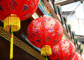 Red chinese lanterns during chinese new year festival — Foto de Stock