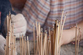 Joss sticks in to pot — Stock Photo