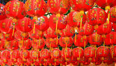 Red chinese lanterns during chinese new year festival — Photo