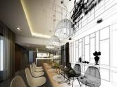 Abstract sketch design of interior dining — Stock Photo
