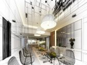 Abstract sketch design of interior dining — Foto Stock