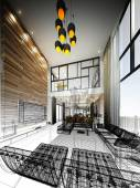 Abstract sketch design of interior living — Foto Stock