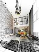 Abstracte schets ontwerp van het interieur leven — Stockfoto