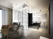 Abstract sketch design of interior bedroom — Stock Photo