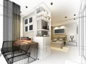 Abstract sketch design of interior bedroom — ストック写真