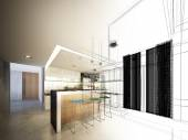 Abstract sketch design of interior kitchen — Stock Photo