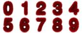 Числа красного понятия травы. изолированный на белом. — Стоковое фото