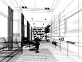 Sketch design of interior living — Stock Photo