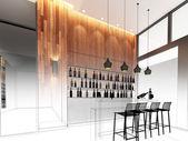 Sketch design of counter bar   ,3dwire frame render — Stock Photo