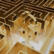 Gold dollar sign in the middle of a mysterious maze — Stock Photo #73338587