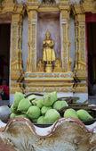 Bud green lotus with buddha statue background, flower of buddhist — Stock Photo