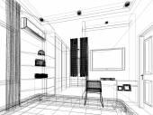 Abstract sketch design of interior bedroom — Stock Photo