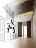 Abstract sketch design of interior buddha — Stock Photo