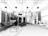 Sketch design of living ,3dwire frame render — Stock Photo