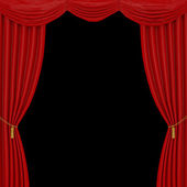 Red curtains on a black  background — Stock Photo