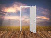 Landscape behind the opening door — Stock Photo