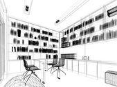 Szkic projektu gabinet, 3dwire rama renderowania — Zdjęcie stockowe