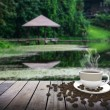 Cup with coffee on table over lake — Stock Photo #77319660