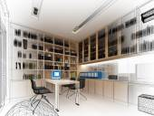 Sketch design of study room ,3dwire frame render — Stock Photo