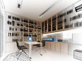 Эскиз дизайн кабинета, 3dwire кадр рендеринга — Стоковое фото