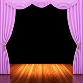 Stage with pink curtains and spotlight. — Stock Photo