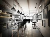 Sketch design of coffee shop ,3dwire frame render — Stock Photo