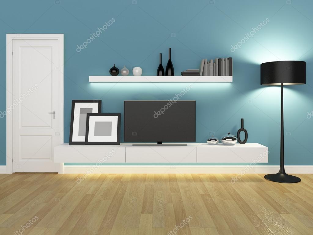 Blauwe woonkamer met TVs met drie schappen en boekenkast ...