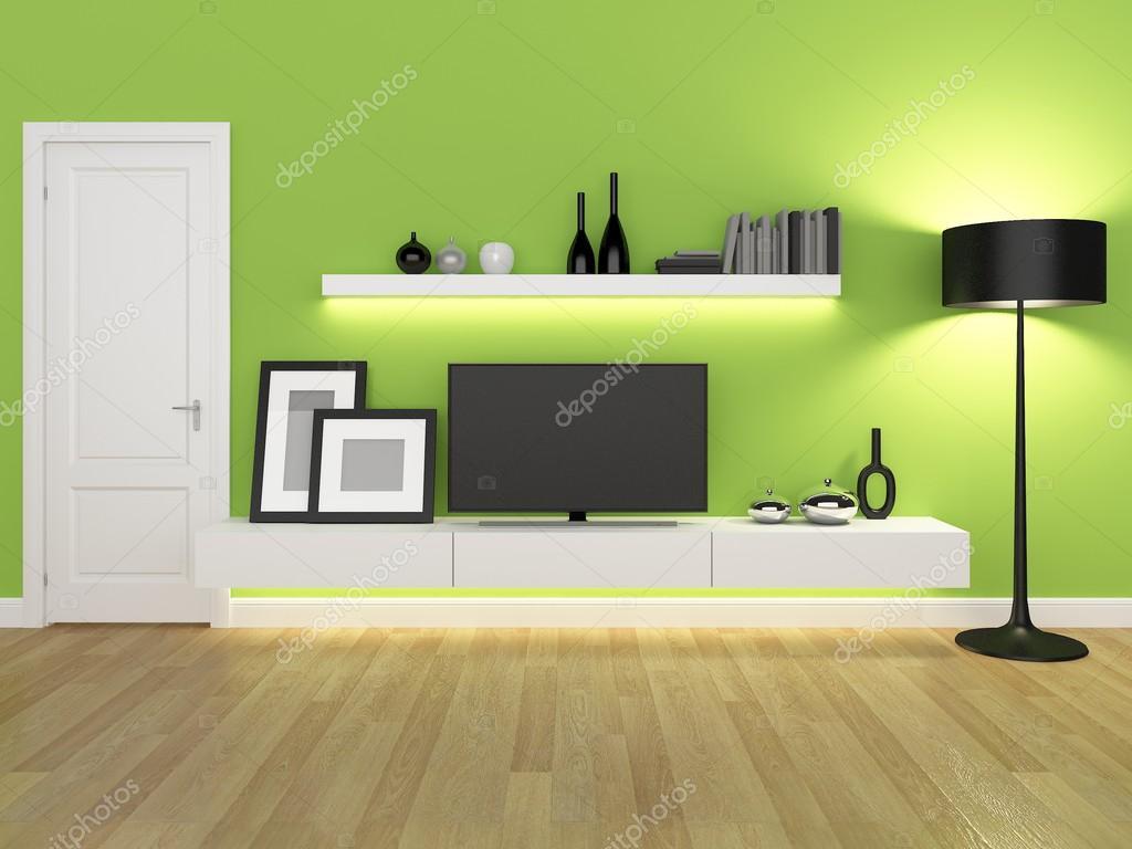 Zöld nappali tv állvány és könyvespolc - renderelés — Stock Fotó © yaryhee #93822928
