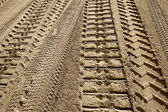 Tire tracks on a beach  — Stock Photo