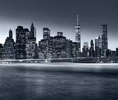 Panorama New York City at night — Stok fotoğraf