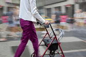 Disabled on a city street and blue tonality — Stock Photo