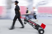 Delivery goods with dolly by hand, purposely motion blur — Stock Photo