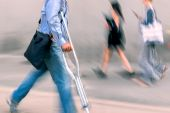 Disabled on a city street and using a filter — Stock Photo
