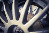 Super sport car alloy wheel disc brake — Stok fotoğraf