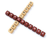 Knowledge and Experience wooden crosswords — Foto de Stock