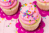 Birthday Cupcakes with Pink Frosting — Stock Photo