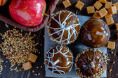 Hand Dipped Caramel Apples with Nuts and Chocolate — Stock Photo