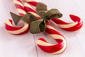 Christmas Candy Canes and Peppermint Sticks — Stok fotoğraf