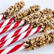 Chocolate Covered Peppermint Sticks with Nuts — Stock Photo #59671581