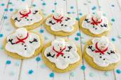 Melting Snowmen Decorated Sugar Cookies — Stock Photo