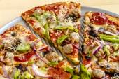 Fresh Thin Crust Supreme Pizza — Stock Photo