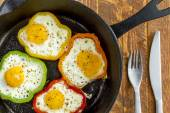 Fried Eggs in Cast Iron Skillet — Stock Photo
