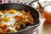 Fried Eggs and Sweet Potato Hash — Stock Photo