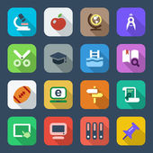 Flat school iconset 2 colorful — Stock Vector