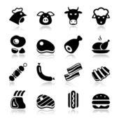 Meat black icons reflex — Stock Vector