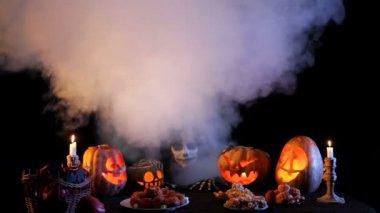 Jack O'lantern with Halloween pumpkins. — Stock Video