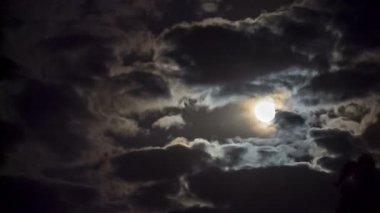 Full moon behind clouds — Stock Video
