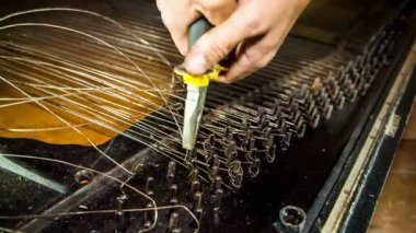 Dismantling Process of Old Piano Strings With Pliers — Stock Video