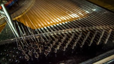 Dismantling Process of Old Piano Strings — Stock Video